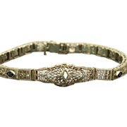 Estate 10 K Diamond Blue Stone Filigree Bracelet