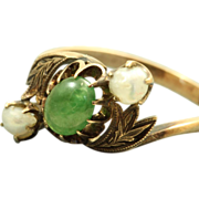 Estate 14 K Jade and Baroque Pearl Ring