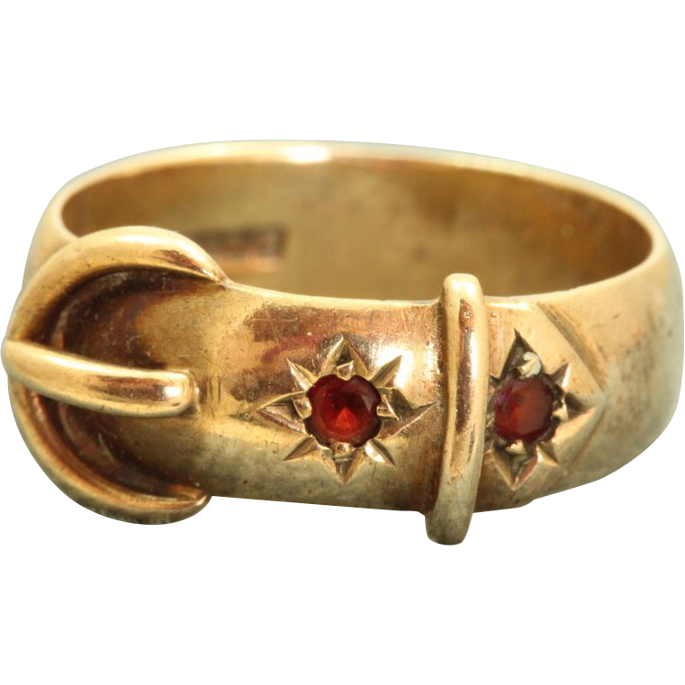 9 C Vintage Garnet Buckle Ring, Birmingham England
