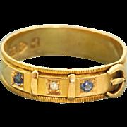 18 K Chester 1921 Diamond Sapphire Buckle Ring