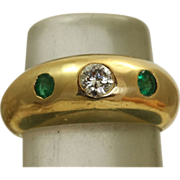 18 K Vintage Cartier Diamond Emerald Gypsy Ring