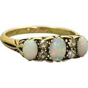 18 K Three Stone Opal and Diamond Ring