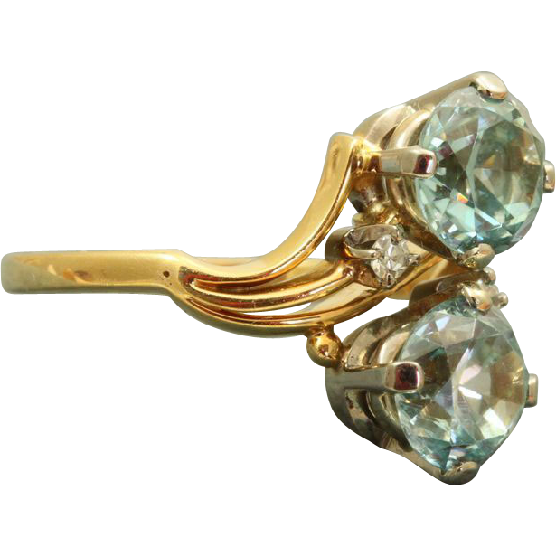 Jabel 18 K Retro 3.5 CT Blue Zircon Diamond Ring