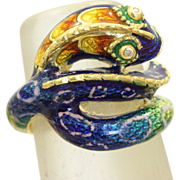 Estate 18 K Diamond Enamel Snake Ring