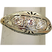 Estate 14 K Two Tone Three Diamond Filigree Ring