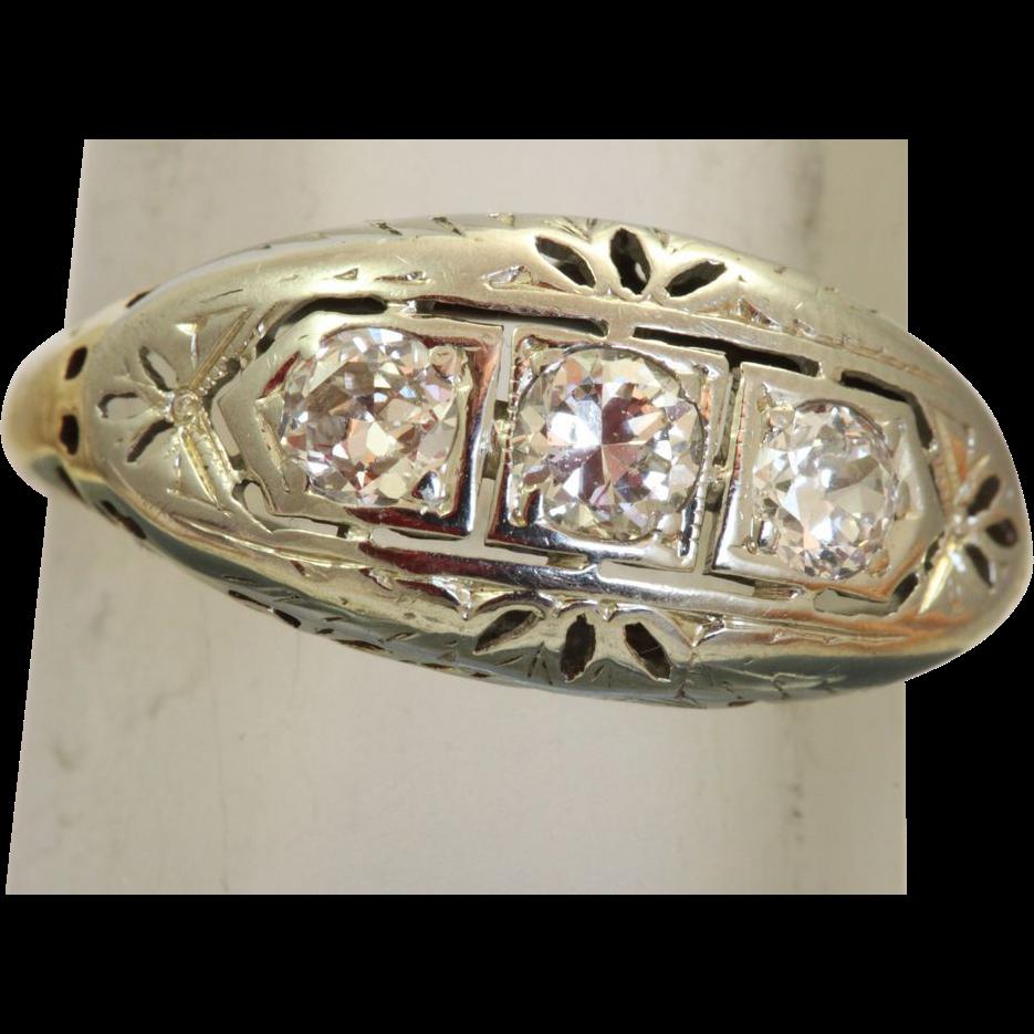 Estate 14 K Two Tone Three Diamond Filigree Ring