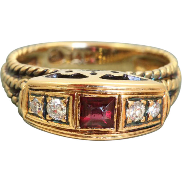 Estate 14 K Ruby Diamond Ring