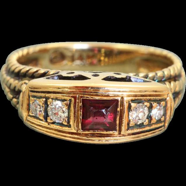 Estate 14 K Ruby Diamond Ring