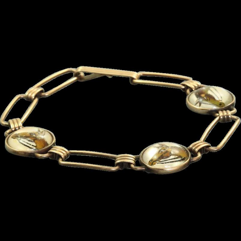 10 K Essex Reverse Crystal Painted Bracelet Krementz 'Diana'