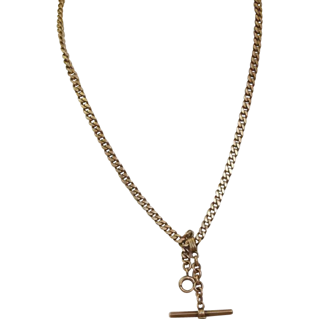 "14 K  18"" Albert Watch Chain"
