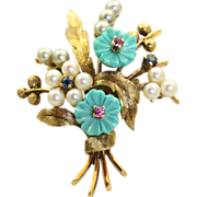 Estate 14 K German 'Bouquet Brooch'