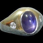 Estate 1930's 18 KW  2 CT Violet Star Sapphire Diamond Ring