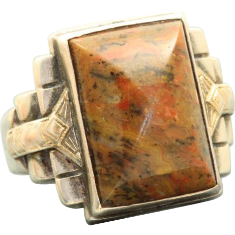 Ostby & Barton Sterling/10 K Deco Agate Ring