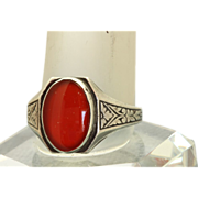 Sterling Carnelian Enamel Ring