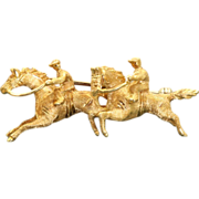 Estate 18 K Steeple Chase Brooch