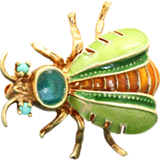 Estate 14 K Four Color Enamel Turquoise Bug Pin