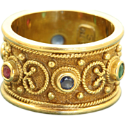 Estate 18 K Etruscan Multi-Gem Band