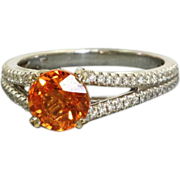 Estate 18 K 2.88 CT Spess Garnet and Diamond Ring