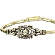 Early French 14 K/Sterling Silver Rose Cut Diamond Bracelet