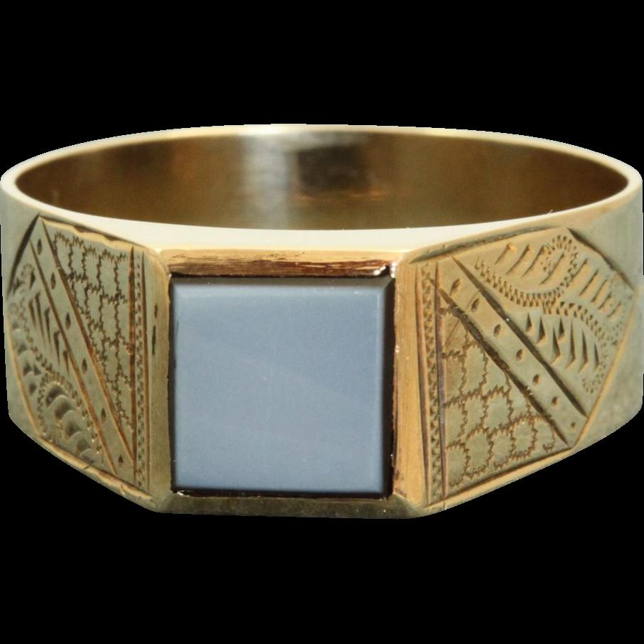 Vintage 10 K Chased Sardonyx Gent's Ring