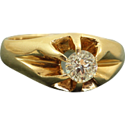 Estate 14 K 0.58 Old Mine Cut Belcher Ring