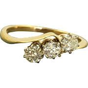 Early Estate 18 CT 0.66 Old Mine Cut 3 Diamond Crossover Ring
