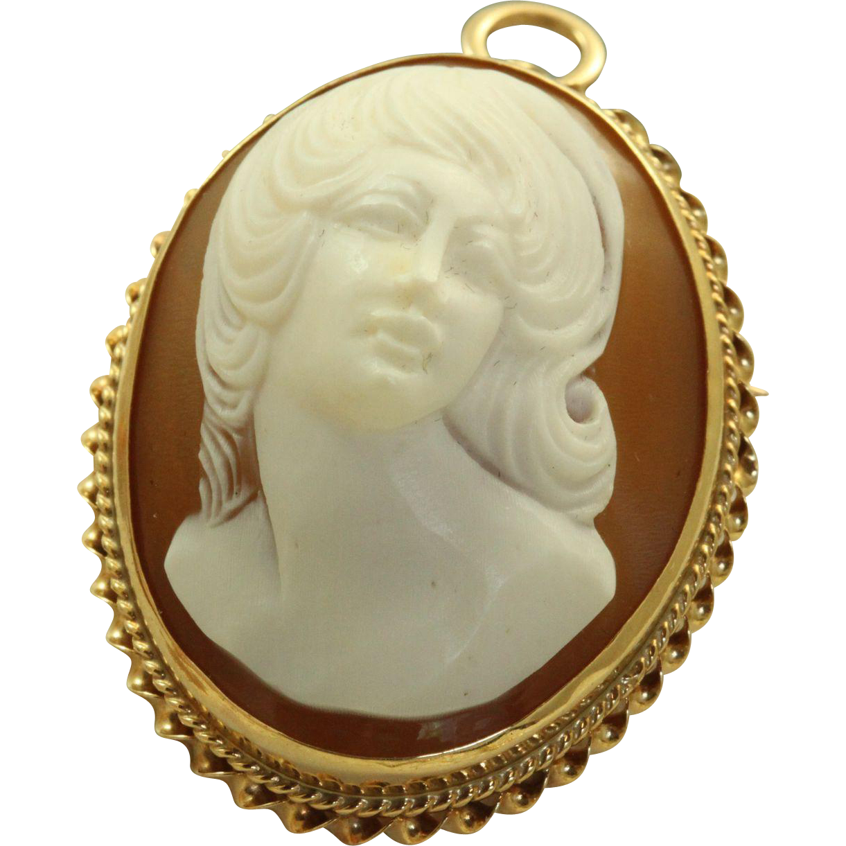 Estate 14 K Full Face Mid-Century Cameo Pin/Pendant
