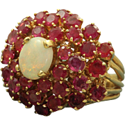14 K Estate Opal and Ruby Princess Ring