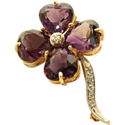 Estate 14 K Two Tone Amethyst Diamond Clover Brooch