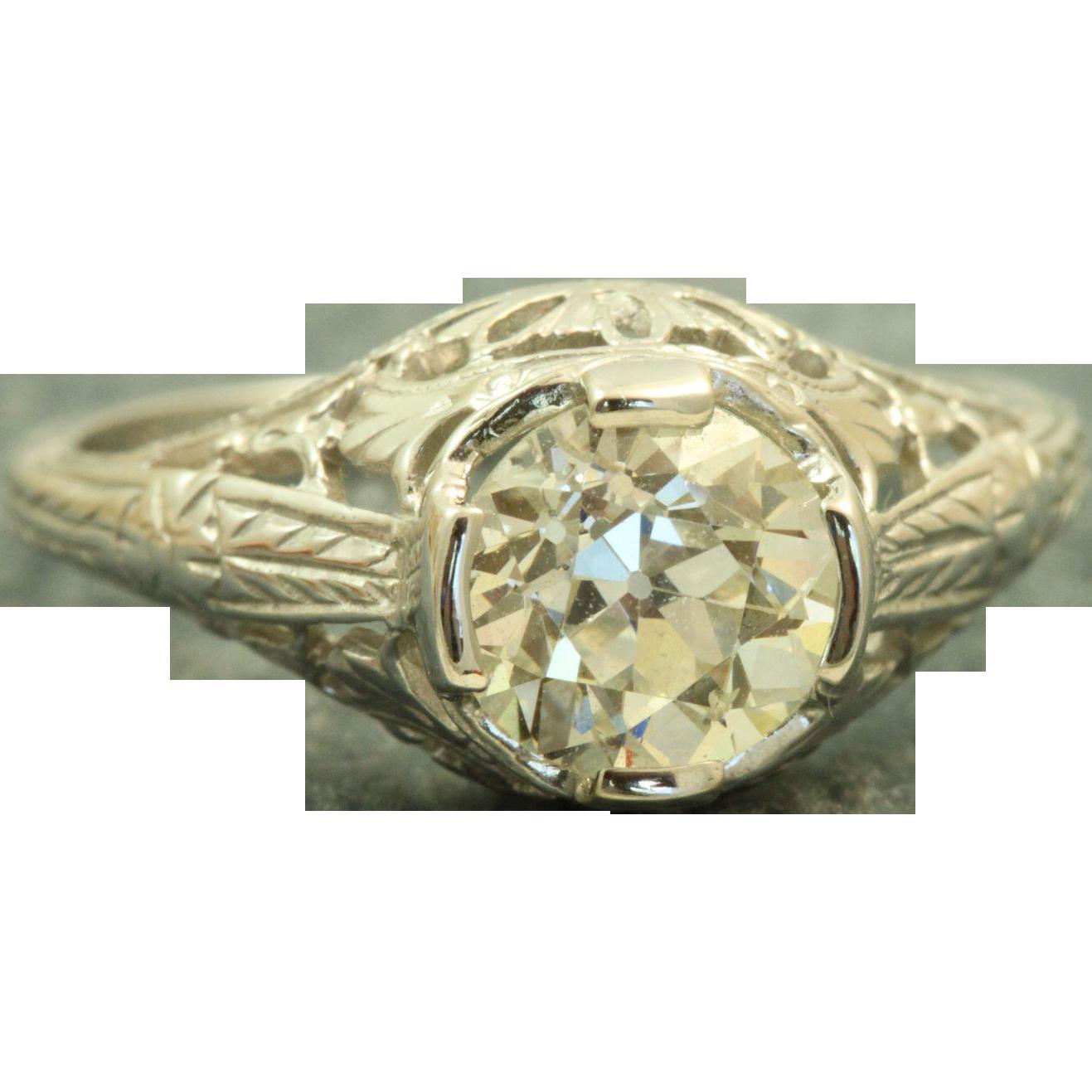 18 K 1.10 CT Old European Cut Diamond Filigree Ring