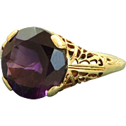 Estate 14 K 4.13 CT Amethyst Filigree Ring
