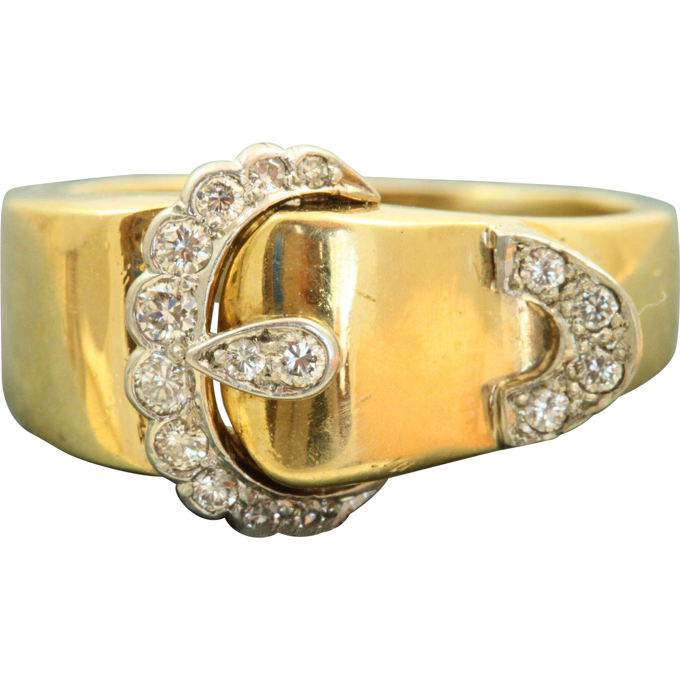 Estate 18 K/Platinum Diamond Buckle Ring