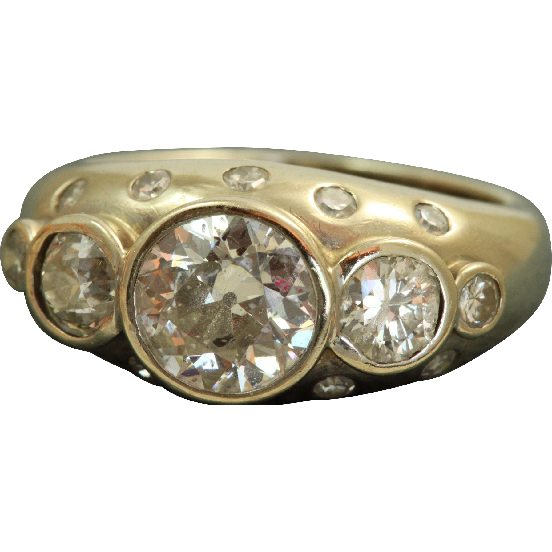 Estate 14 KW 2.50 CT Old European Cut Diamond Band