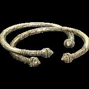 Pair Sterling Etruscan Revival Bangles
