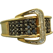 Estate 14 K Sapphire and Diamond Buckle Ring