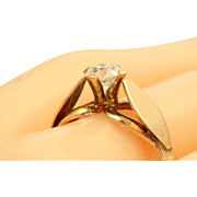 Estate 1940's Handmade Rose Gold 0.55 CT Old European Cut Diamond Ring