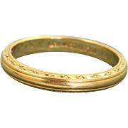 Estate 14 K Earth Carved Detailed Band