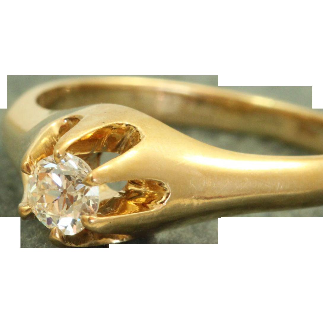 Estate 14 K Belcher 0.26 CT Diamond Heritage Engagement Ring