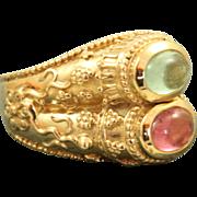 Estate 14 K Double Tourmaline Kabana Etruscan Ring