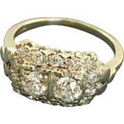 Estate 14 KW 1 CT Old European Cut Diamond Cocktail Ring