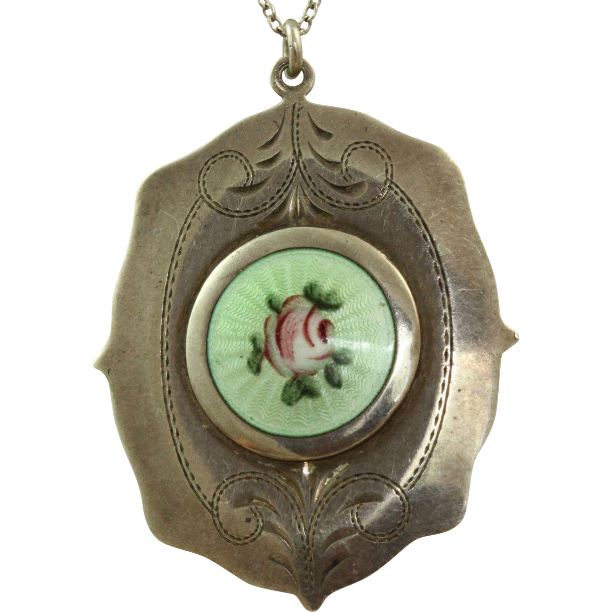 Sterling Guilloche Enamel Locket