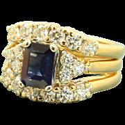 Estate Jabel 18 K/Platinum 1.2 CT Translucent Sapphire and Diamond Ring