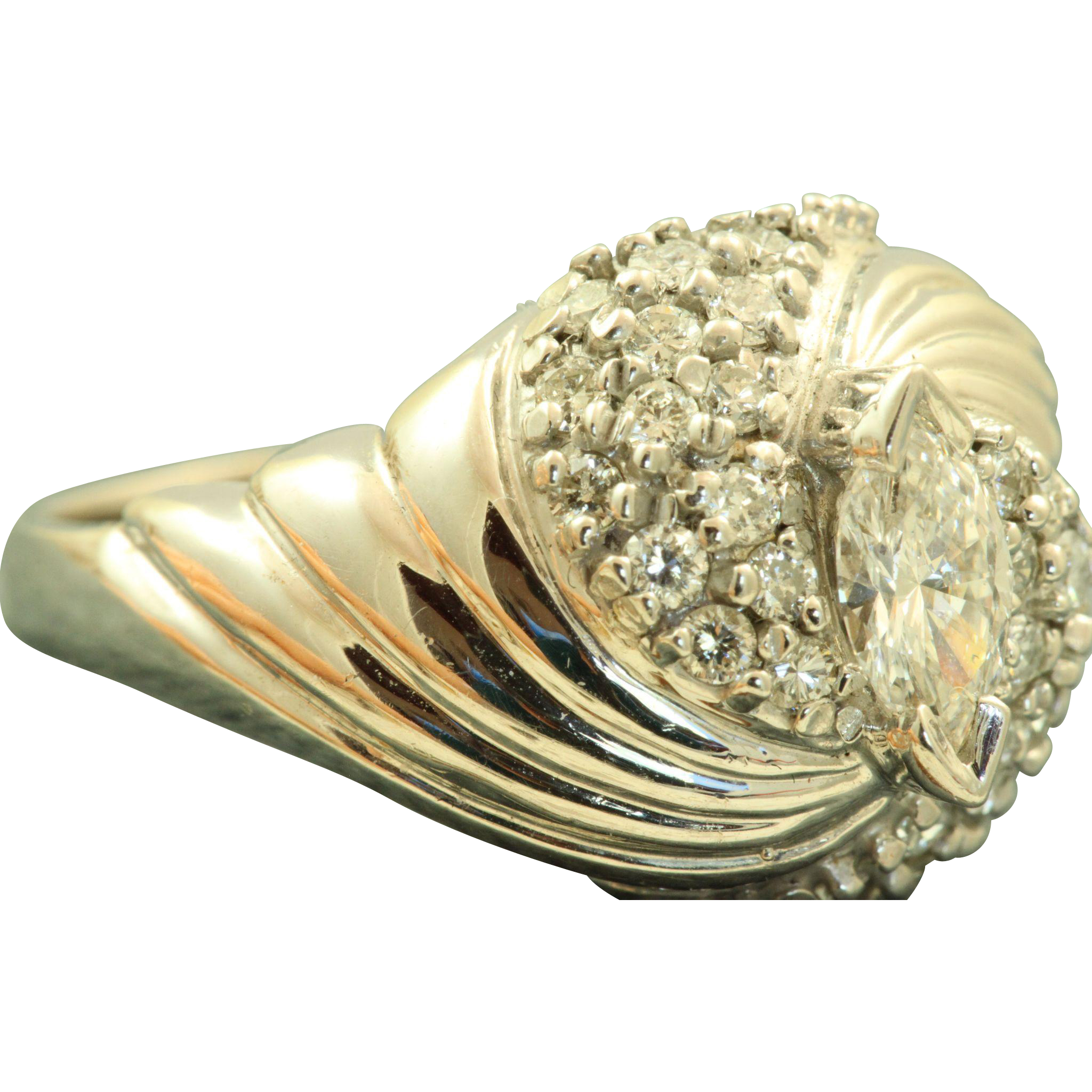 14 K 1960's Marquise Diamond Swirl Cocktail Ring