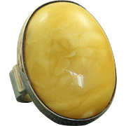 Vintage Sterling 1960's Egg Yolk Amber Adjustable Ring