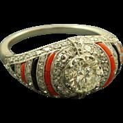 Platinum Estate Art Deco 0.95 CT Old European Cut Diamond Coral Onyx Ring