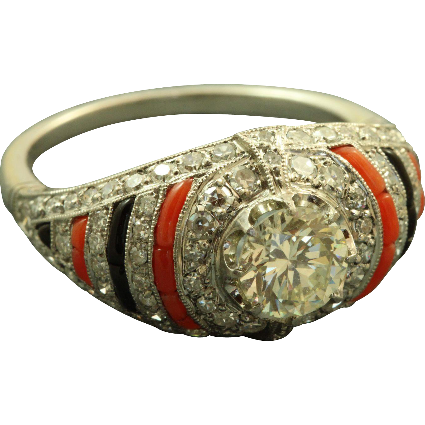 Platinum Estate Art Deco 0.95 CT Old European Cut Diamond Coral Onyx Ring