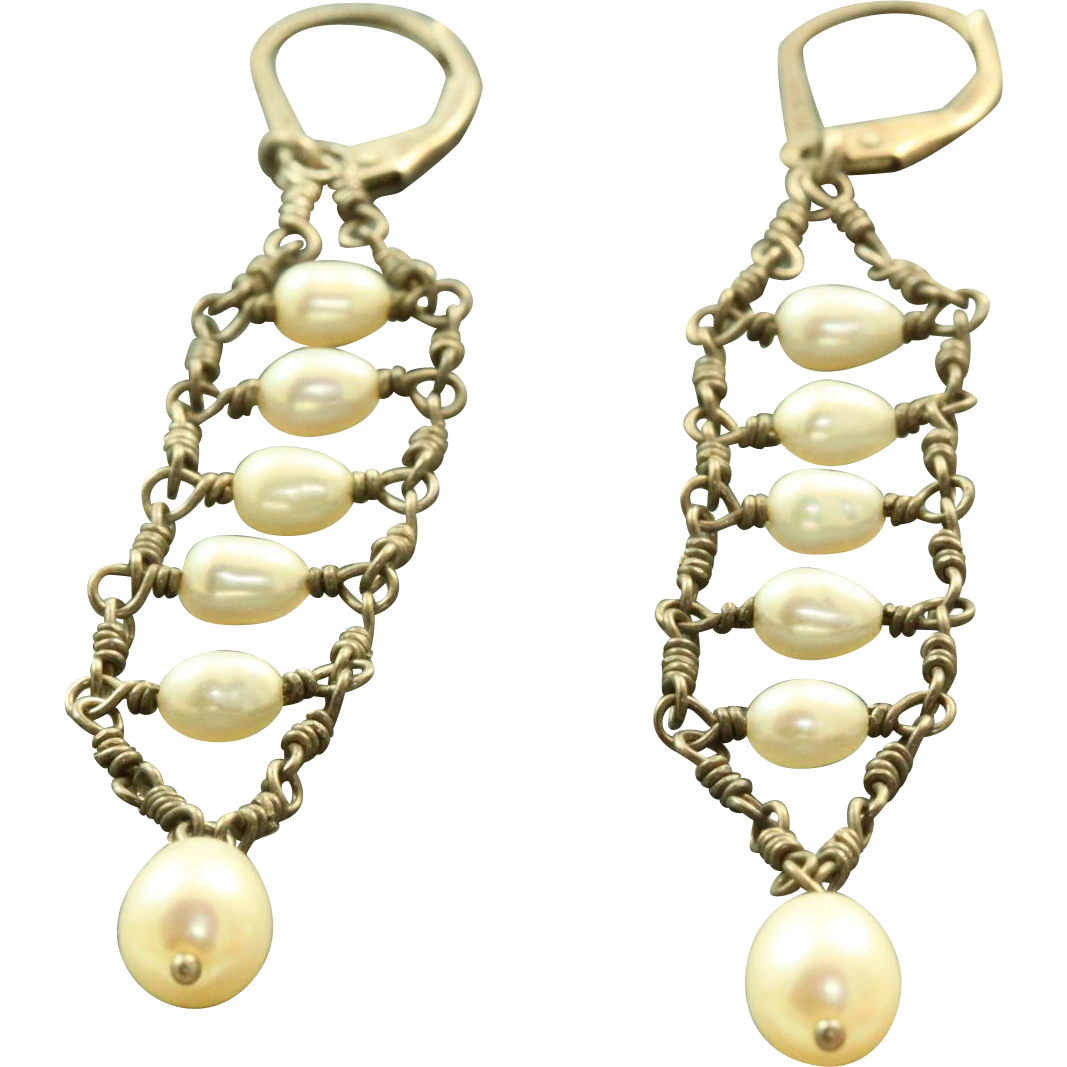 estate sterling pearl dangle earrings from