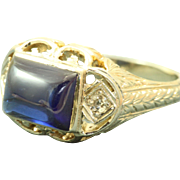 Estate 20 KW Filigree Blue Stone Diamond Ring