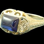 Estate 20 KW Filigree Blue Stone Diamond Ring