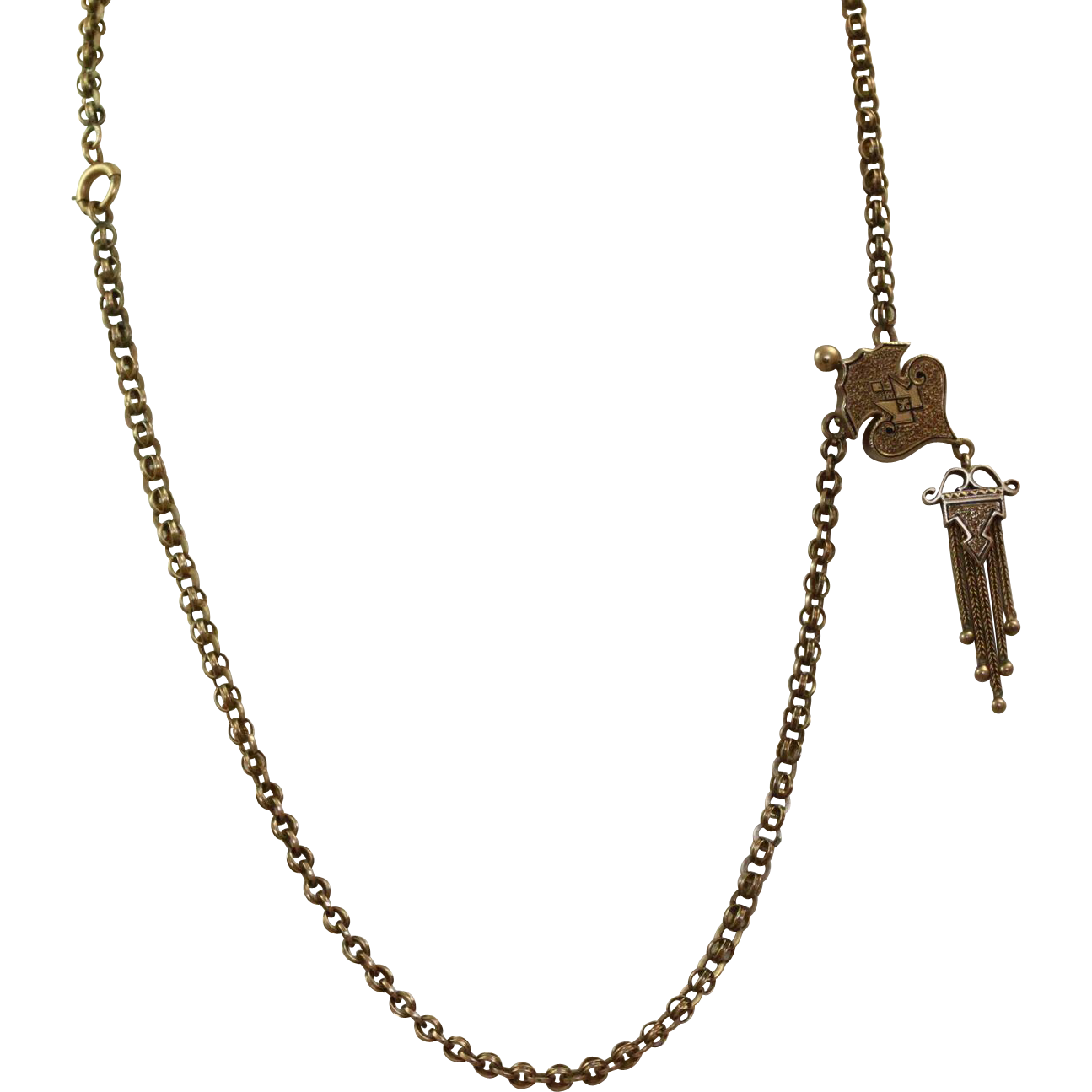 """20"""" Victorian 10 K Handmade Pendant and Necklace"""
